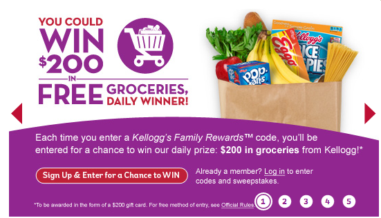 kellogg's family rewards FREE GROCERIES