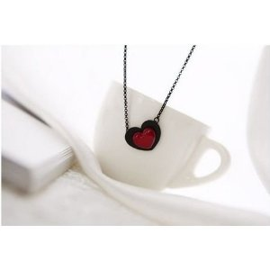 red heart love necklace