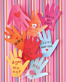 hand shaped v-day cards