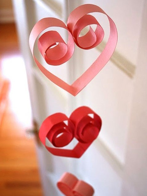 v day paper hearts on a string