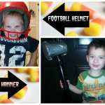 Homemade Thor Hammer and Football Helmet