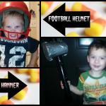 Homemade Thor Hammer and Football Helmet