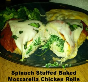 Spinach Stuffed Baked Mozzarella Chicken Rolls