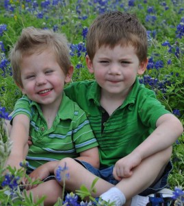 Jude and Isaiah in bluebonnets